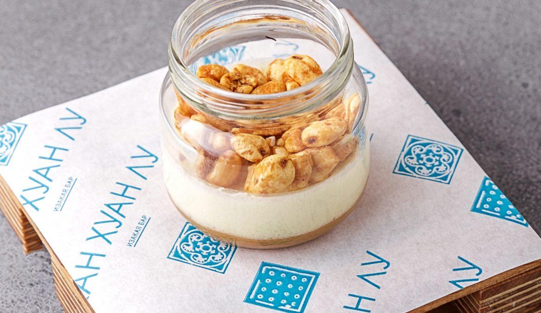 Флан из сыра Камамбер с карамелью и воздушной пшеницей